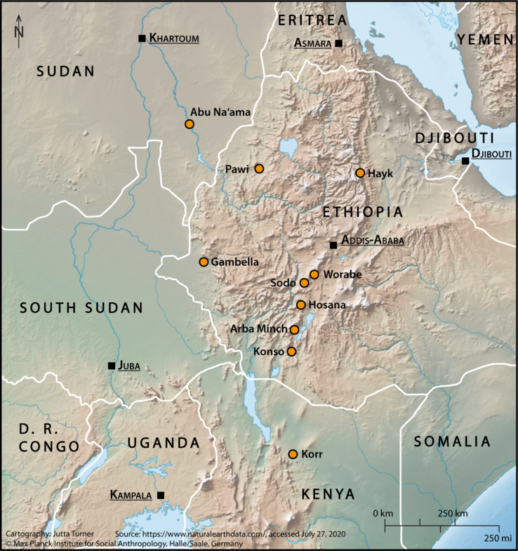 These orange dots mark the research locations from which students and colleagues have sent their corona diary notes. Today's contribution draws on accounts by Solomon Erjabo who reports from Hosana (Hadiya); Yohannes Yitbarek who is based at Pawi in the Metekel Zone of Beni Shangul-Gumuz State, and above all, by Saleh Said, writing from Hayk *in southern Wollo. (For more information see the caption of the map in the first part of this series)